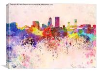 Jacksonville skyline in watercolor background, Canvas Print