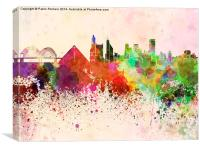 Memphis skyline in watercolor background, Canvas Print