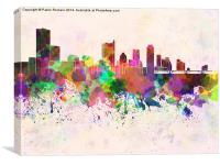 Austin skyline in watercolor background, Canvas Print