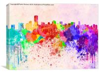 Miami skyline in watercolor background, Canvas Print