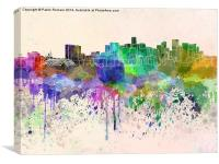 Denver skyline in watercolor background, Canvas Print