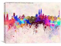 Kuala Lumpur skyline in watercolor background, Canvas Print