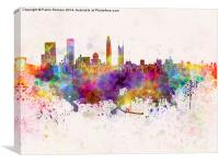 Shenzhen skyline in watercolor background, Canvas Print
