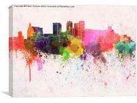 Birmingham AL skyline in watercolor background, Canvas Print