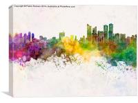 Busan skyline in watercolor background, Canvas Print