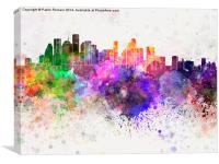 Houston skyline in watercolor background, Canvas Print