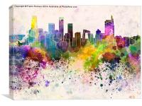 Beijing skyline in watercolor background, Canvas Print
