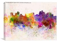 Reno skyline in watercolor background, Canvas Print