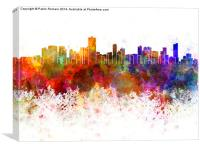 Salvador de Bahia skyline in watercolor background, Canvas Print