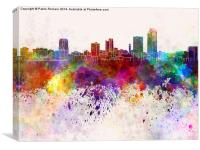 Little Rock skyline in watercolor background, Canvas Print