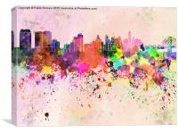 Philadelphia skyline in watercolor background, Canvas Print