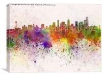 Seattle skyline in watercolor background, Canvas Print