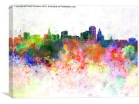 Hartford skyline in watercolor background, Canvas Print