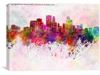 Minneapolis skyline in watercolor background, Canvas Print