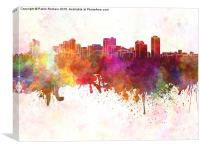 Manila skyline in watercolor background, Canvas Print