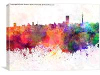 Johannesburg skyline in watercolor background, Canvas Print