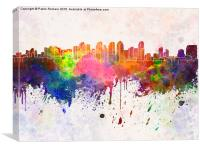 San Diego skyline in watercolor background, Canvas Print