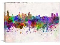Baltimore skyline in watercolor background, Canvas Print