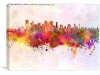 Calgary skyline in watercolor background, Canvas Print