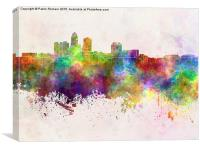 Des Moines skyline in watercolor background, Canvas Print