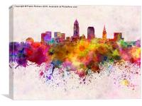 Cleveland skyline in watercolor background, Canvas Print