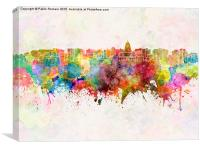 Madison skyline in watercolor background, Canvas Print