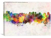 Halifax skyline in watercolor background, Canvas Print