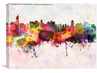 Jakarta skyline in watercolor background, Canvas Print