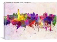 Albany skyline in watercolor background, Canvas Print