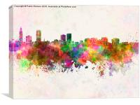 Baton Rouge skyline in watercolor background, Canvas Print