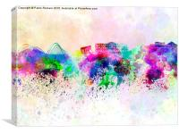 Athens skyline in watercolor background, Canvas Print