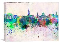 Bern skyline in watercolor background, Canvas Print