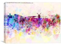 Amsterdam skyline in watercolor background, Canvas Print