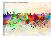Berlin skyline in watercolor background, Canvas Print