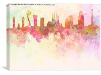 Barcelona skyline in watercolour background , Canvas Print
