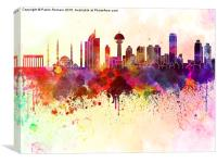 Ankara skyline in watercolor background, Canvas Print