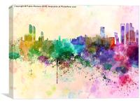 Abu Dhabi skyline in watercolor background, Canvas Print