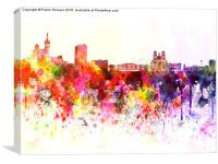 Marseilles skyline in watercolor background, Canvas Print