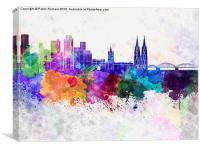Cologne skyline in watercolor background, Canvas Print