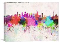 Frankfurt skyline in watercolor background, Canvas Print