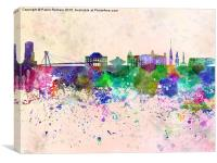 Bratislava skyline in watercolor background, Canvas Print
