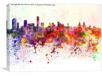 Liverpool skyline in watercolor background, Canvas Print