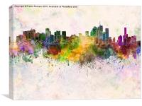 Brisbane skyline in watercolor background, Canvas Print