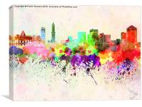Genoa skyline in watercolor background, Canvas Print