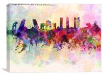 Madrid skyline in watercolor background, Canvas Print