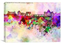 Rome skyline in watercolor background, Canvas Print