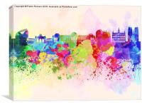 Brussels skyline in watercolor background, Canvas Print
