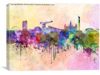 Glasgow skyline in watercolor background, Canvas Print