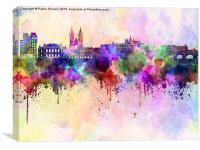 Prague skyline in watercolor background, Canvas Print