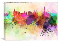 Hong Kong skyline in watercolor background, Canvas Print